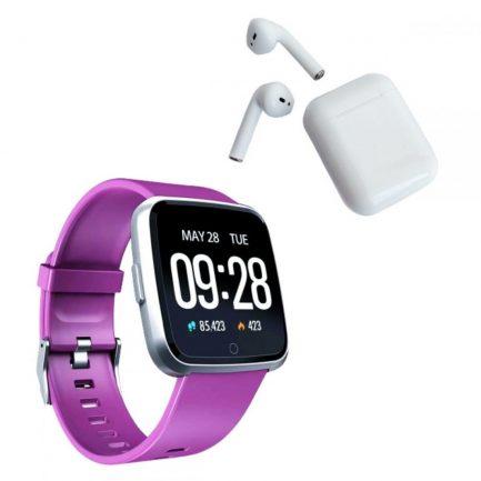 Pack Smartwatch Y7 Morado+Audífonos